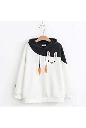Kadın Beyaz Tavşan Sweatshirt
