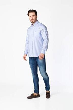 Erkek Mavi Klasik Kesim Gömlek