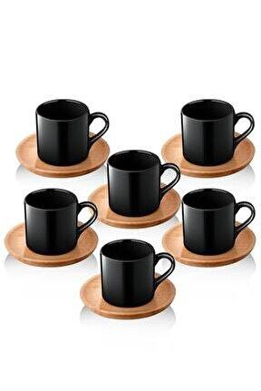 Doğal Ahşap Tabaklı 6 Kişilik Kahve Takımı Siyah