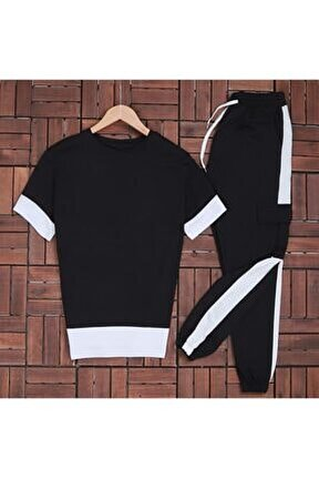Düz Siyah T-shirt Eş Kargobeyaz Eşofman Takımı