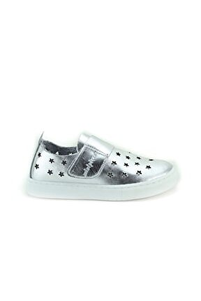 Unisex Çocuk Gümüş Deri Ortopedik Ayakkabı