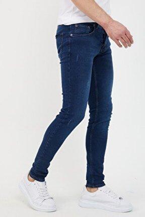 Erkek Lacivert Slim Fit Likralı Dar Paça Lazerli Kot Pantolon
