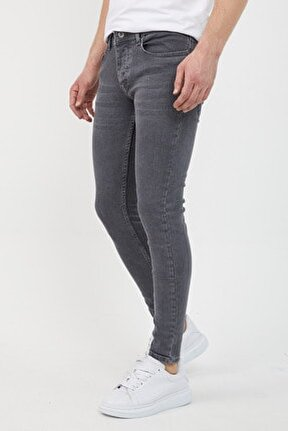 Erkek Füme Slim Fit Likralı Dar Paça Kot Pantolon