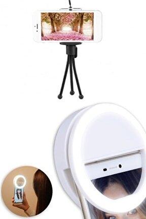 Esnek Metal Telefon Tripod 11 Cm & Şarjlı Selfie Işığı 2in1 Set