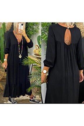 Kadın Siyah Önü V Yaka Sırt Boncuk Detay Elbise
