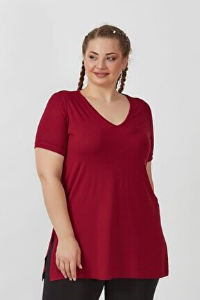 Kadın Bordo V Yaka Basıc Tişört