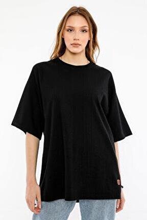 Kadın Siyah Oversize T-shirt (un-7040)