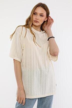 Kadın Ekru Pamuklu Oversize T-shirt