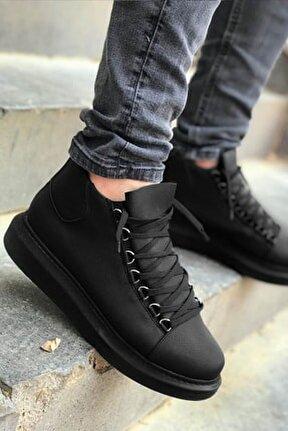 Siyah Yüksek Taban Sneaker Spor Ayakkabı