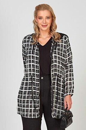 Kapüşonlu Şifon Ceket