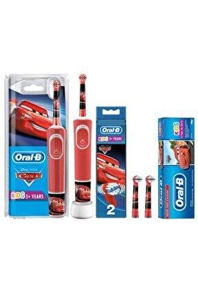 D100 Çocuklar İçin Diş Fırçası Cars+Yedek Başlık 2'li+Cars Diş Macunu 75 ml