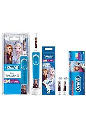 D100 Çocuklar Için Diş Fırçası Frozen+yedek Başlık 2'li+frozen Diş Macunu 75 Ml