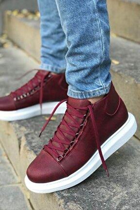 Bordo Yüksek Taban Sneaker Spor Ayakkabı