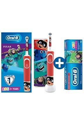 D100 Çocuklar Için Şarj Edilebilir Diş Fırçası Pixar+seyahat Kabı+ Pixar Diş Macunu