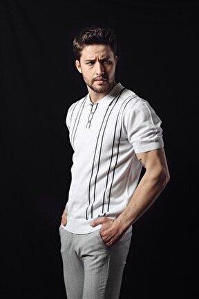 Erkek Beyaz Lacivert Polo Yaka Dik Çizgili  Pamuk Triko T-shirt