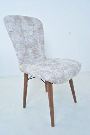 Ahşap Ayaklı Mutfak Sandalyesi Papel Sırtlı Krem