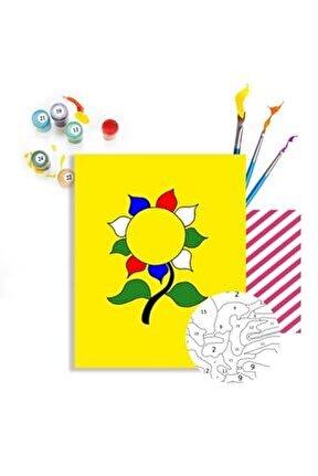 Ayçiçeği Sayılarla Boyama Hobi Seti 40x50 cm