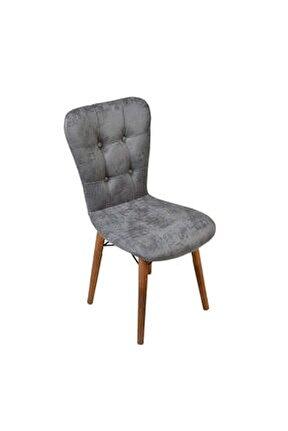 Ahşap Ayaklı Mutfak Sandalyesi Papel Sırtlı Gri