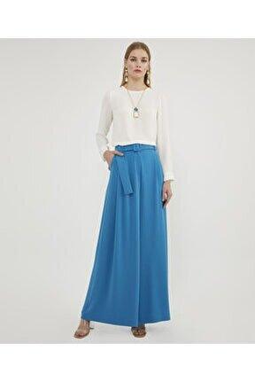 Kadın Mavi Kemerli Pantolon Etek V142080124