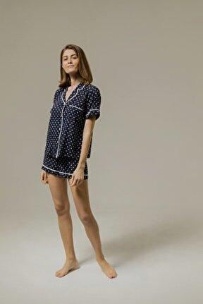 Yumuşak Puantiyeli Lacivert Viskon Şort Pijama Takımı