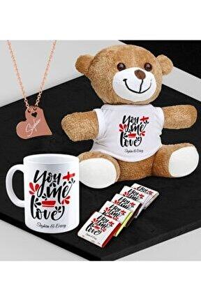 Kişiye Özel Sevgili Peluş Ayı Kupa Madlen Çikolata Ve Rose Kalp Kolye Set - 79