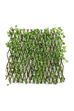 Yapay Sarmalıklı Çit, Açılır Kapanır Ahşap Çit, Dekoratif Bahçe Çiti 120 cm X 2,50 mt'e Uzatılabilir