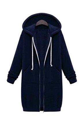 Yeni Model Kadın Kapşonlu Şardonlu Üç Iplik Hırka (Lacivert)