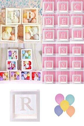 Şeffaf R Harfli Beyaz Kutu Ve Balon Seti Kendin Yap Bebek Çocuk Doğum Günü Süsleme