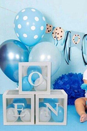 Erkek Bebek One Yazılı Beyaz Kutu ve Balon Seti