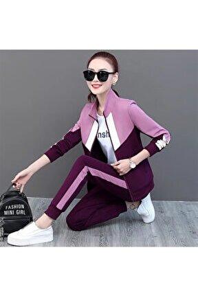 Yeni Model Kadın Bloglu Yanı Şeritli Ikili Eşofman Takımı (mürdüm)