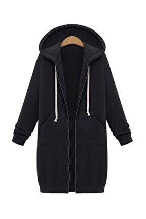 Yeni Model Kadın Kapşonlu Şardonlu Üç Iplik Hırka (Siyah)