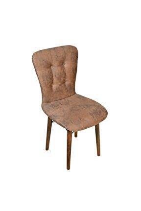 Ahşap Ayaklı Mutfak Sandalyesi Papel Sırtlı Sütlü Kahve
