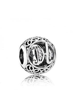 H Harfi Pandora Bilekliklerine Uyumlu Gümüş Charm
