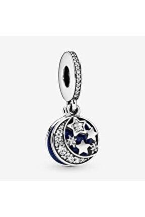 Ay Ve Mavi Gökyüzü Sallantılı Gümüş Charm