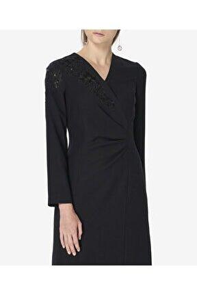 Kadın Siyah Işlemeli Kruvaze Elbise S43578123