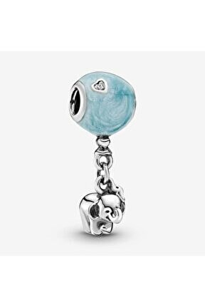Fil Ve Mavi Balon Pandora Bilek İçin Gümüş Charm