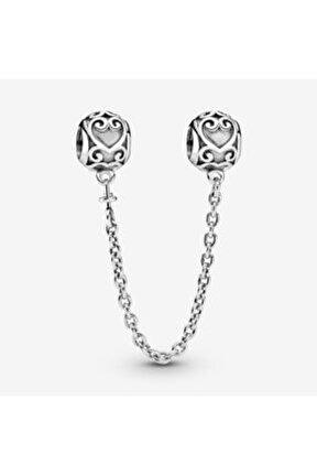 Süslü Kalpler Güvenlik Kilidi Pandora Bilekliklerine Uyumlu Gümüş Charm