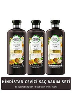 Şampuan Nemlendirici Hindistan Cevizi Sütü 400 Ml*2 Adet + Saç Bakım Kremi 360 Ml