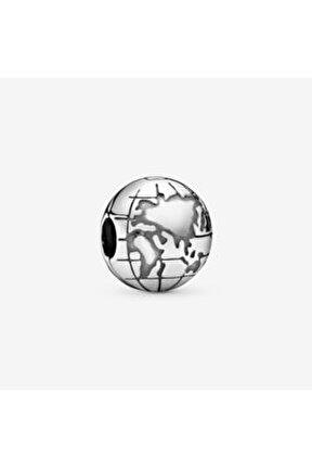 Dünya Gezegeni Klips Gümüş Charm