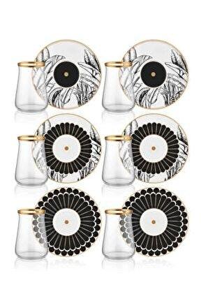 Cote 6 Kişilik Porselen & Cam Çay Bardak Takımı Prs0055