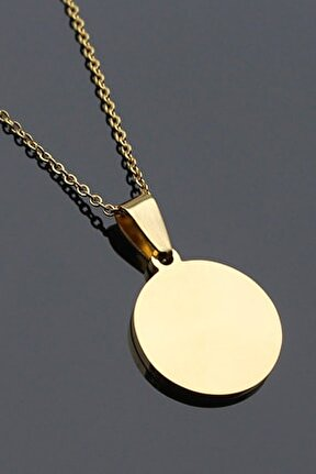 Gold Yuvarlak Madalyon Çelik Kolye