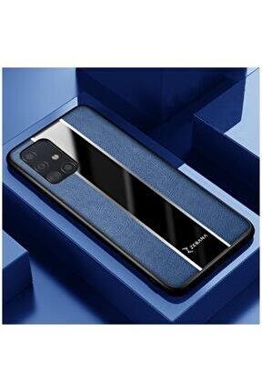Galaxy M31s Uyumlu Kılıf Zebana Premium Deri Kılıf Mavi