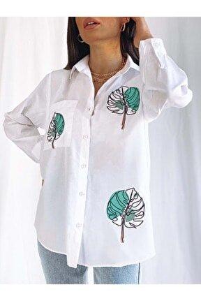 Yaprak Desenli Boyfriend Gömlek - Beyaz Prpx34000500-beyaz-s