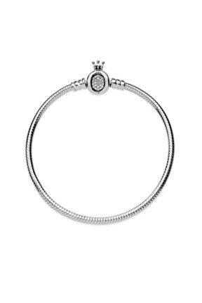 Pandora Charm Uyumlu Taç Figürlü Gümüş Bileklik