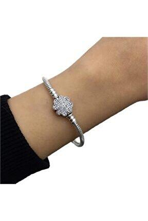 Pandora Uyumlu Taşlı Yonca Gümüş Charm Bileklik