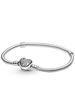 Mickey Mouse Kalp Yılan Zincir Gümüş Charm Bileklik
