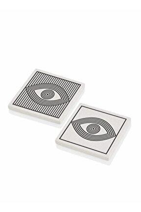 Eye 10 Cm 2'li Taş Bardak Altlığı Seti Brk0061