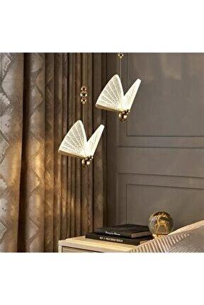 Elegance Modern Kelebek Tasarım Tekli Sarkıt Led Avize 2 Adet Set Fiyat Harika Görsel