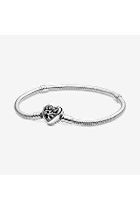 Aile Ağacı Kalp Yılan Zincir Gümüş Charm Bileklik