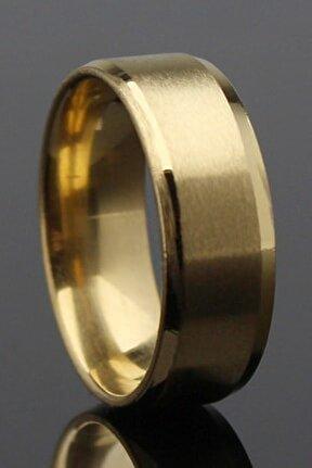 Köşeli Model Gold Düz Çelik Alyans